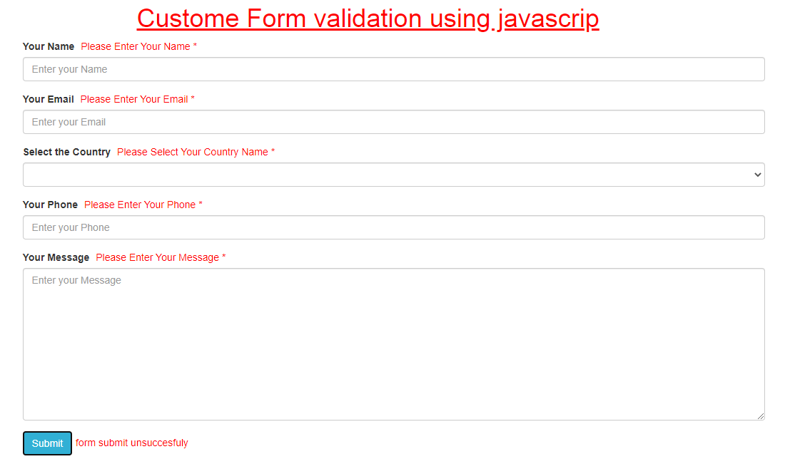 Custom and Easy Javascript Form Validation With Example(New)