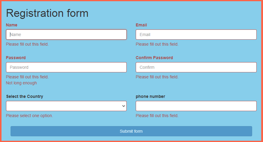 final out put of bootstrap form validation