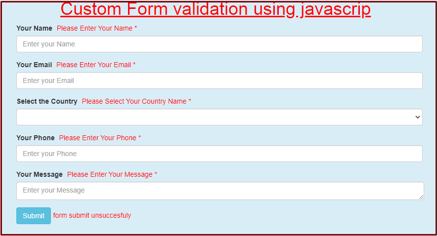 output of custom form validation using javascript