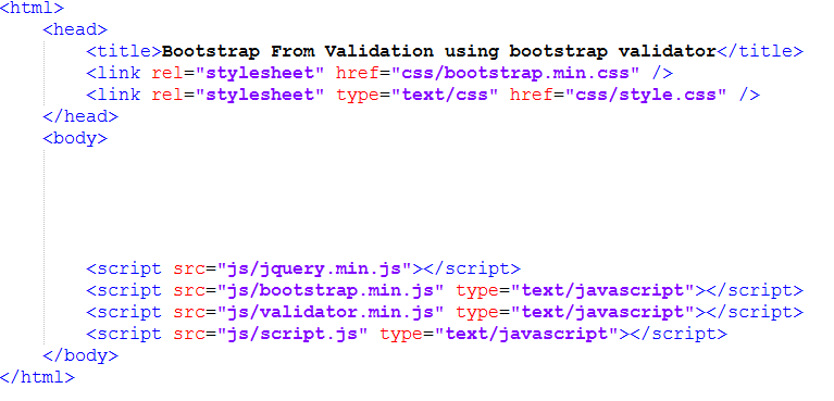 html code setup for bootstrap form validation