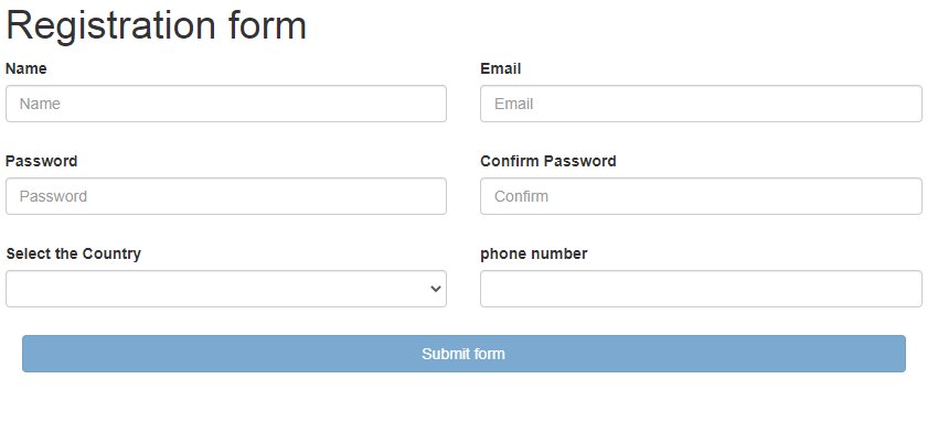 html form example for validation