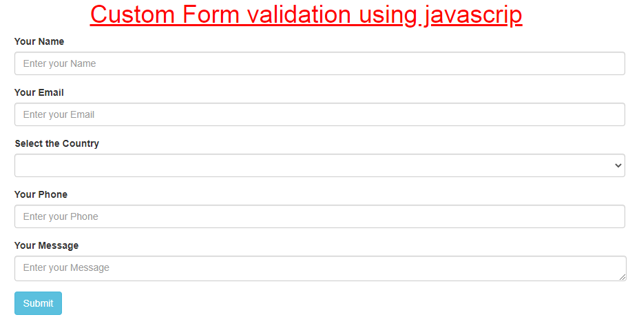 html form for custom javascript validation